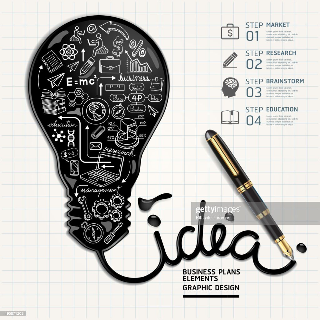 Business doodles inside idea light bulb