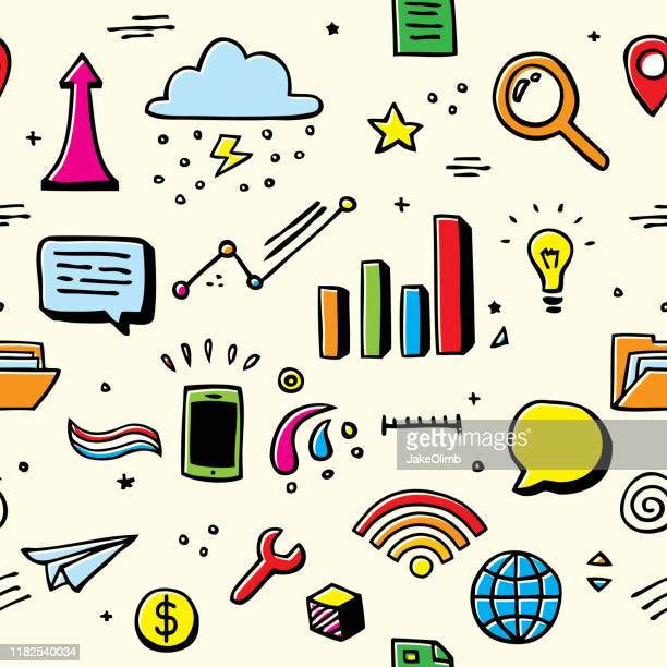 business doodles pattern color offset - market research stock illustrations