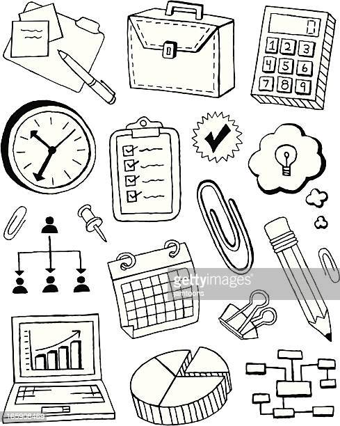 business doodles - ballpoint pen stock illustrations, clip art, cartoons, & icons