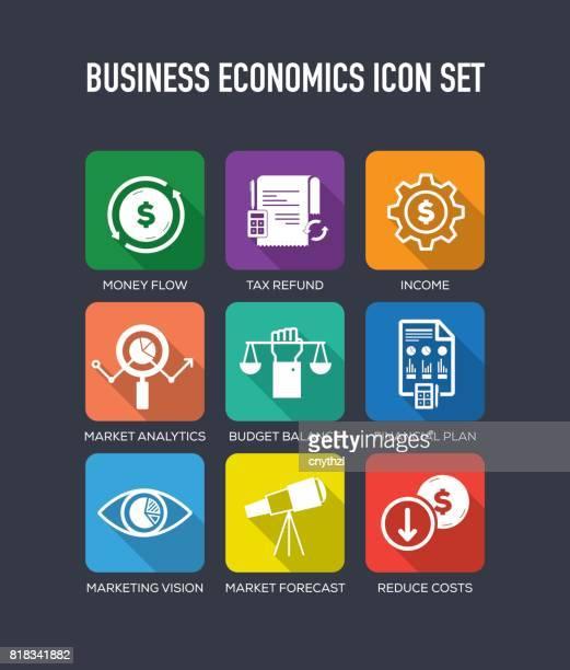 business economics flat icon set - accountancy stock illustrations, clip art, cartoons, & icons