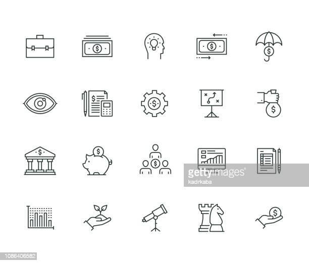 business economics thin line serie - rechnungswesen stock-grafiken, -clipart, -cartoons und -symbole