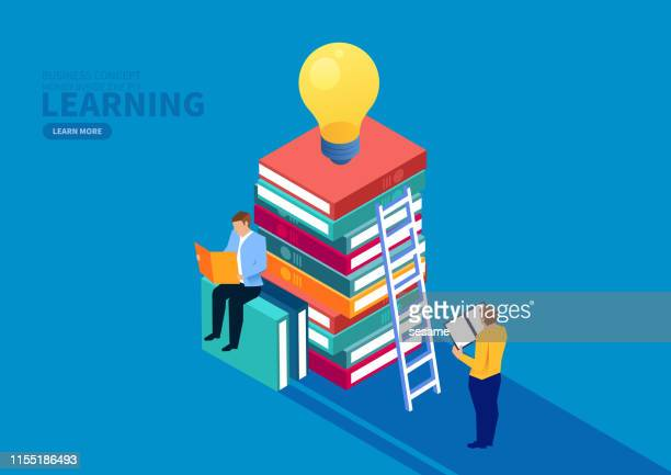 business education and creativity - reading stock illustrations