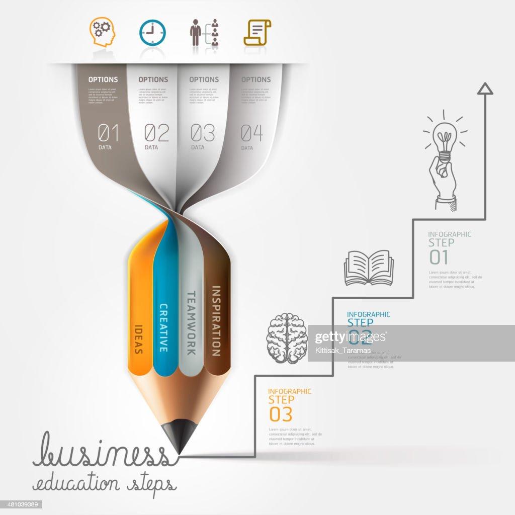 Business education pencil Infographics step option.