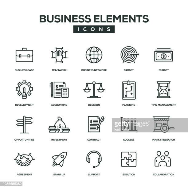 business elements line icon set - opportunity stock illustrations