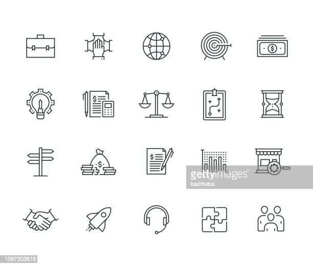 business elements thin line series - accountancy stock illustrations