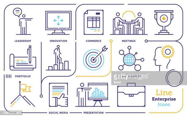 business entrepreneurship line icon set - stadtplan stock illustrations