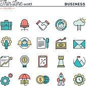 Business, entrepreneurship, teamwork, goals and more, thin line color icons