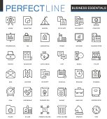Business essential thin line web icons set. Outline stroke icons design.