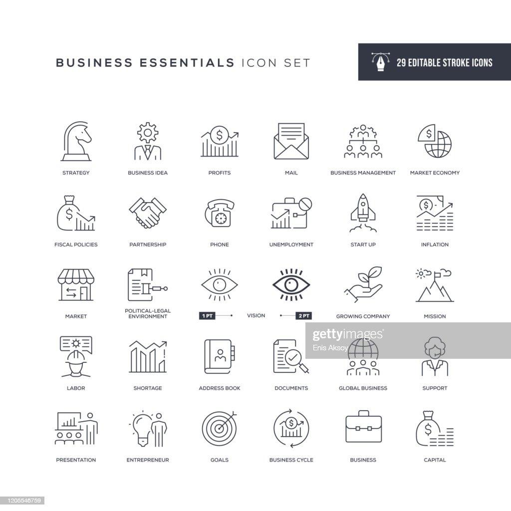 Icone della linea di tratti modificabili di Business Essentials : Illustrazione stock