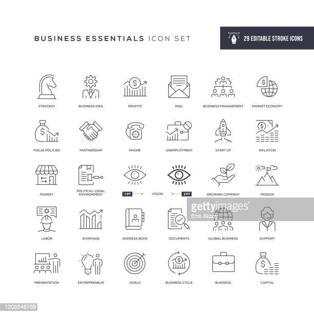 business essentials editable stroke line icons - der weg nach vorne stock-grafiken, -clipart, -cartoons und -symbole