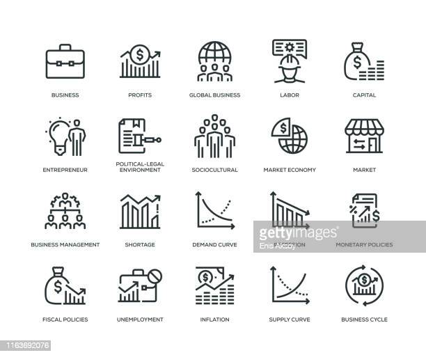 business essentials icon set - fiscal year stock illustrations