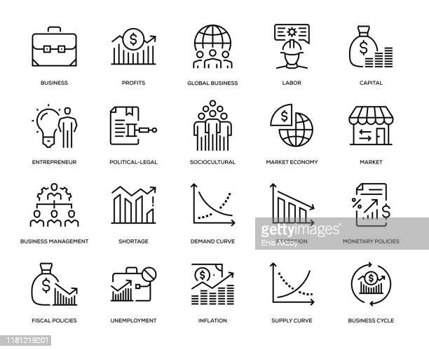 business essentials icon set - monetary policy stock illustrations