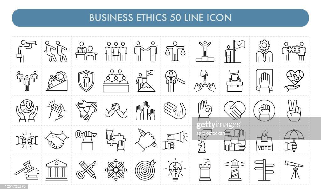 Icône de la ligne Business Ethics 50 : Illustration