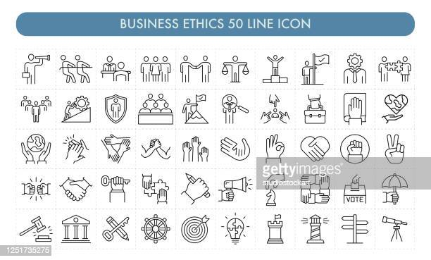 business ethics 50 line icon - dedication stock illustrations