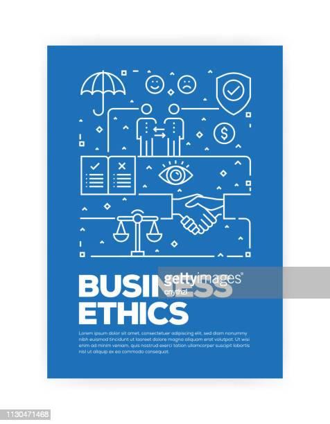 business ethik konzept linie stil cover-design für jährliche bericht, flyer, broschüre. - jährliches ereignis stock-grafiken, -clipart, -cartoons und -symbole