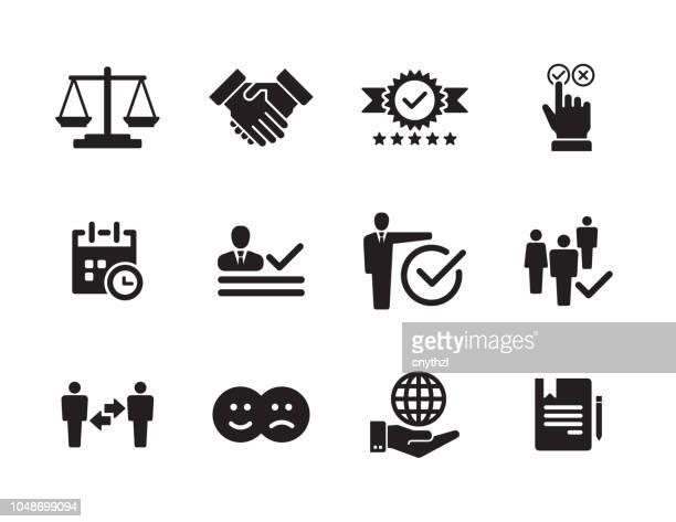 business ethics icon set - reliability stock illustrations