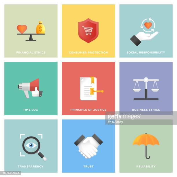 business ethics icon set - transparent stock illustrations