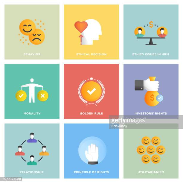 business ethics icon set - artificial stock illustrations
