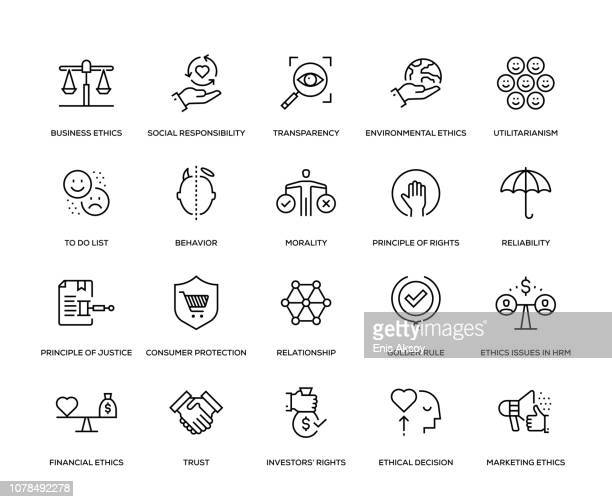 business ethics icon set - condition stock illustrations