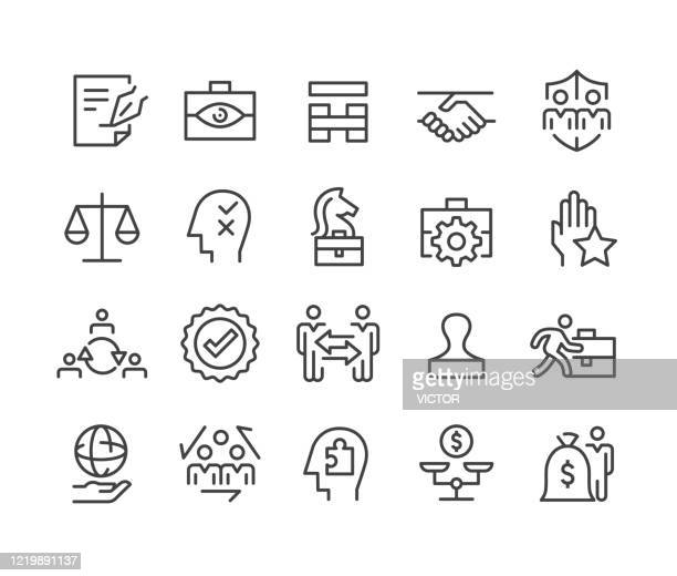 stockillustraties, clipart, cartoons en iconen met business ethics icons - classic line series - mensenrechten