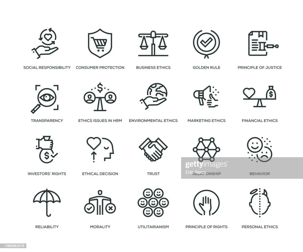 Business Ethics Icons - Line Series : Stock Illustration
