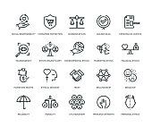 Business Ethics Icons - Line Series