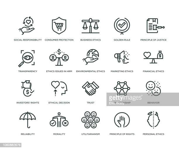 business ethics icons - line series - consumerism stock illustrations