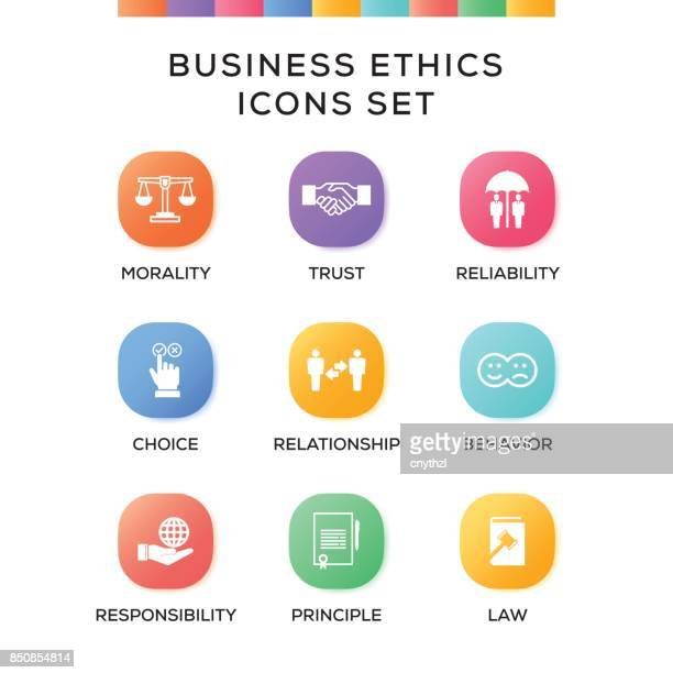 Business Ethics Icons Set on Gradient Background