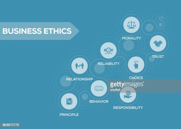 Business Ethics Icons with Keywords