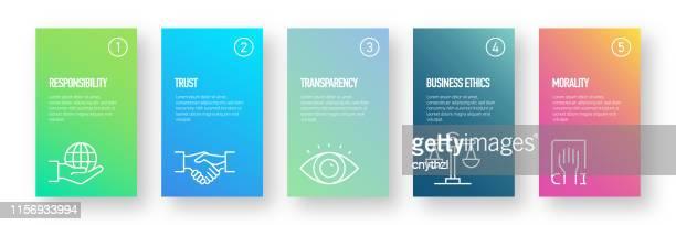 business ethics infografik design - moderne bunte farbverlauf stil - ehre stock-grafiken, -clipart, -cartoons und -symbole