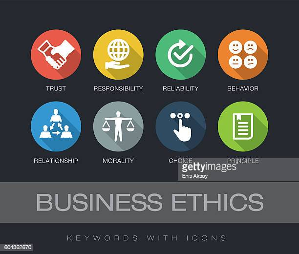 illustrazioni stock, clip art, cartoni animati e icone di tendenza di business ethics keywords with icons - affidabilità