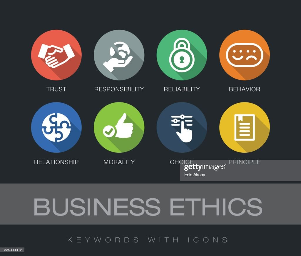 Unternehmen Ethik Keywords mit Symbolen : Stock-Illustration