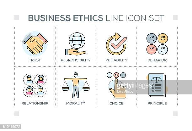 Business Ethics keywords with line icons