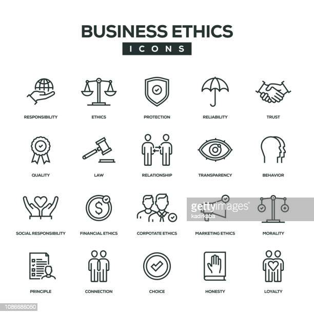 illustrations, cliparts, dessins animés et icônes de business ethics ligne icon set - droit