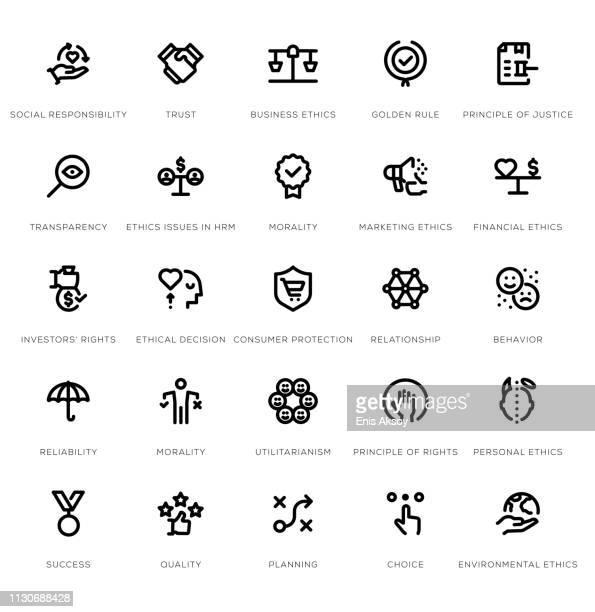 business ethics line icon set - social responsibility stock illustrations