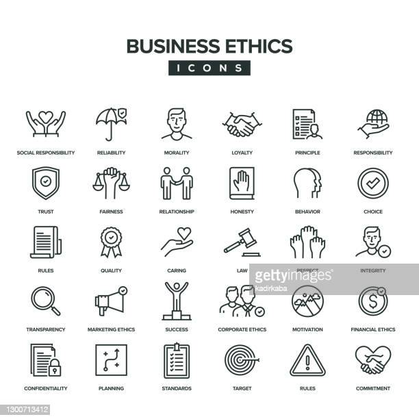 business-ethik-linien-icon-set - hingabe stock-grafiken, -clipart, -cartoons und -symbole