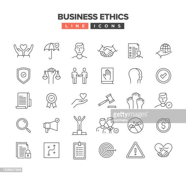 ビジネス倫理ラインアイコンセット - 敬意点のイラスト素材/クリップアート素材/マンガ素材/アイコン素材