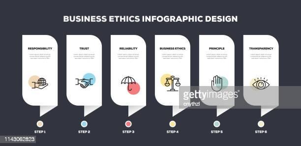 business ethics line infographisches design - ehre stock-grafiken, -clipart, -cartoons und -symbole