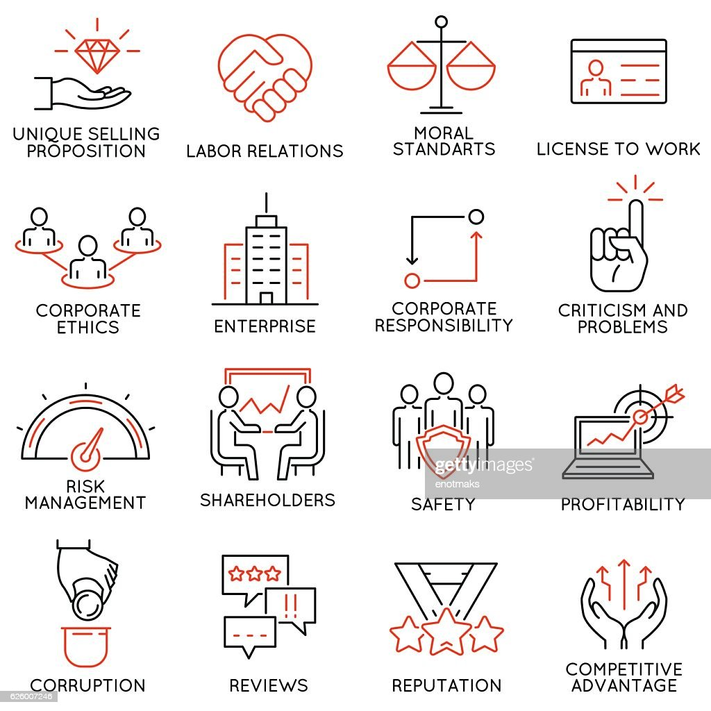 Business ethics, management, strategy and development icons - part 1