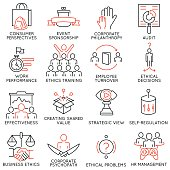 Business ethics, management, strategy and development icons - part 2