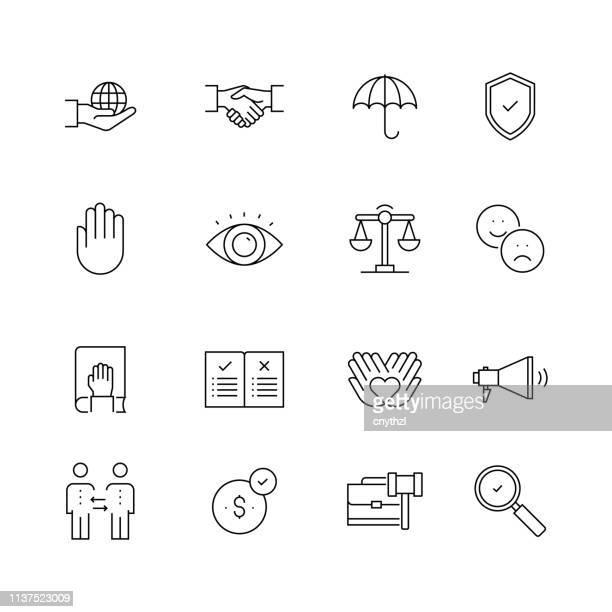 ビジネス倫理-細い線のベクトルアイコンのセット - 合併点のイラスト素材/クリップアート素材/マンガ素材/アイコン素材