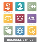 Business Ethics Solid Icon Set