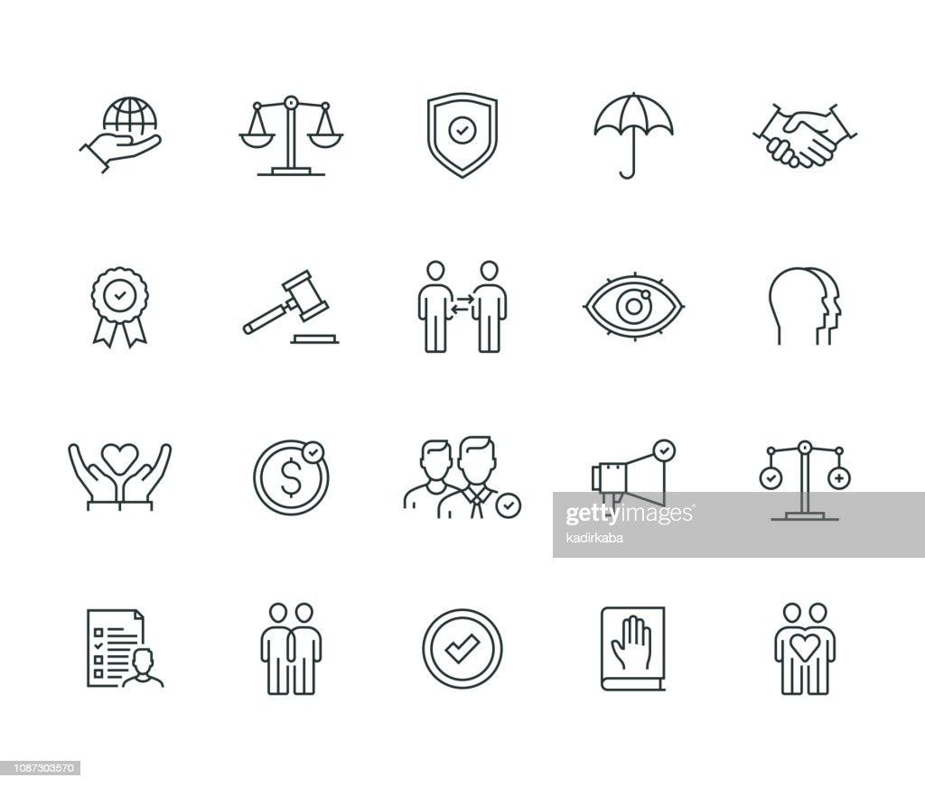 Business Ethics Serie Thin Line : Illustrazione stock