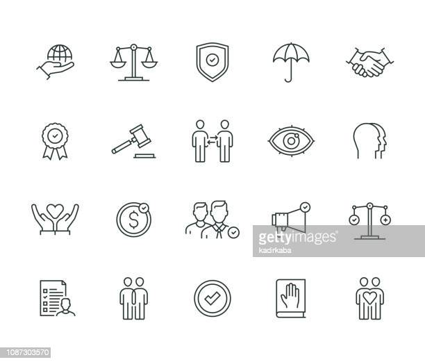 business ethics thin line series - law stock illustrations