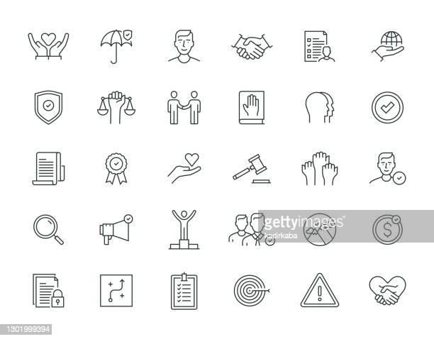ilustrações, clipart, desenhos animados e ícones de série de linhas finas de ética empresarial - respeito
