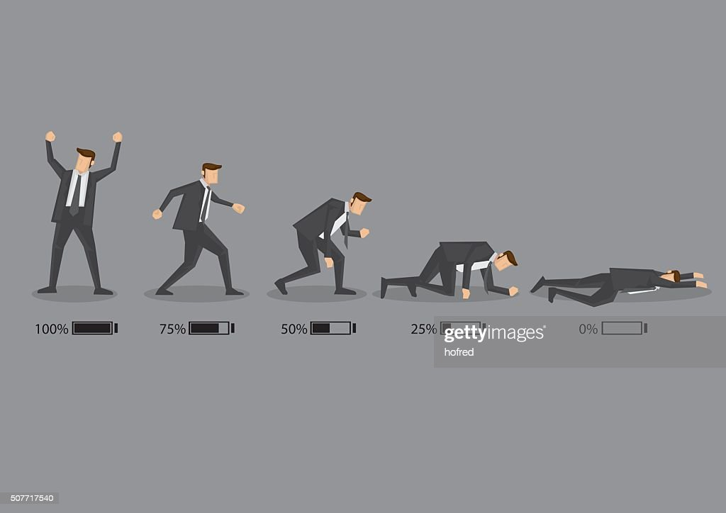 Business Executive and His Energy Level Concept Vector Cartoon I