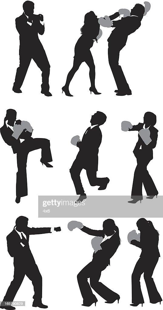 Business executives boxing : stock illustration