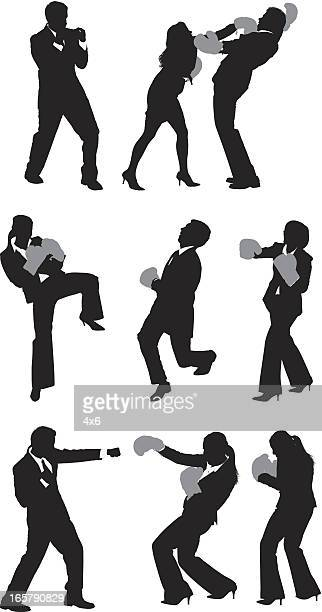 business executives boxing - fighting stance stock illustrations, clip art, cartoons, & icons