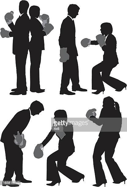 business executives fighting - battle of the sexes concept stock illustrations