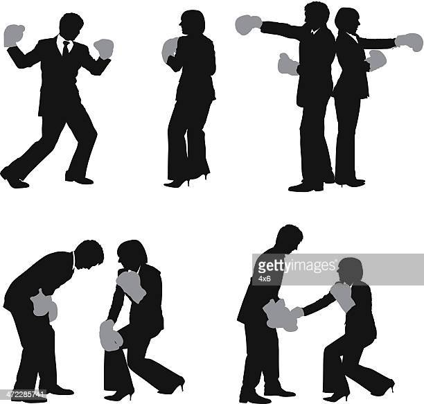 business executives fighting - back to back stock illustrations, clip art, cartoons, & icons
